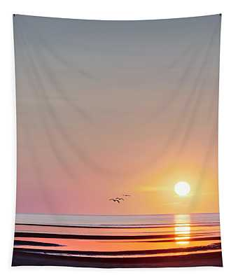 First Encounter Beach Cape Cod Square Tapestry