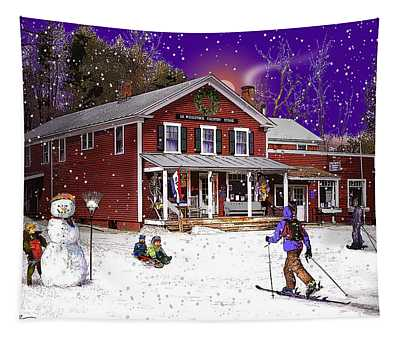 First Snow At The South Woodstock Country Store Tapestry