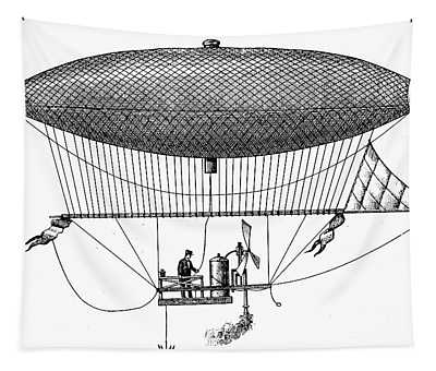 First Steam Powered Airship Designed By Henri Giffard, 1922 Tapestry