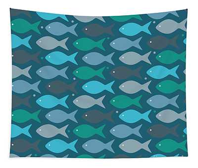 Abstract Fish Digital Art Wall Tapestries