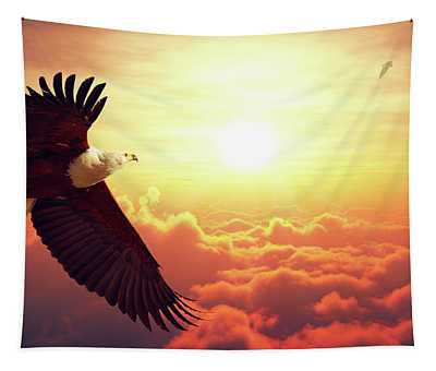 Fish Eagle Flying Above Clouds Tapestry