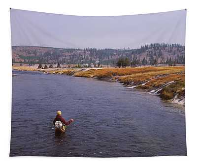 Fisherman Fishing In A River, Firehole Tapestry