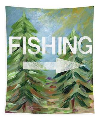 Fishing- Art By Linda Woods Tapestry