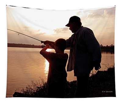 Fishing At Sunset Grandfather And Grandson Tapestry