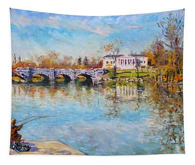 Fishing Day By Delaware Lake Buffalo Tapestry