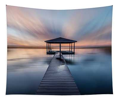 Fishing Dock Before Dawn Dreamscape Tapestry