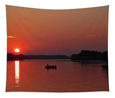 Fishing Until Sunset Tapestry