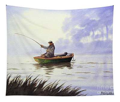 Fishing With A Loyal Friend Tapestry