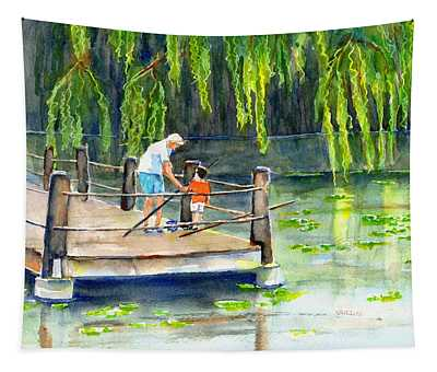 Fishing With Grandpa Tapestry