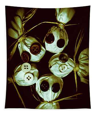 Five Halloween Dolls With Button Eyes Tapestry