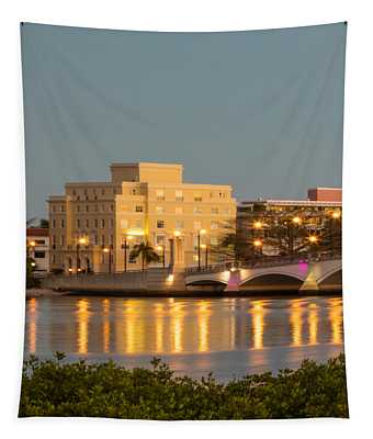 Flagler Bridge In Lights Tapestry
