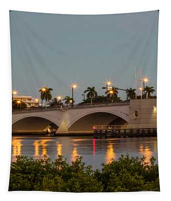 Flagler Bridge In Lights II Tapestry