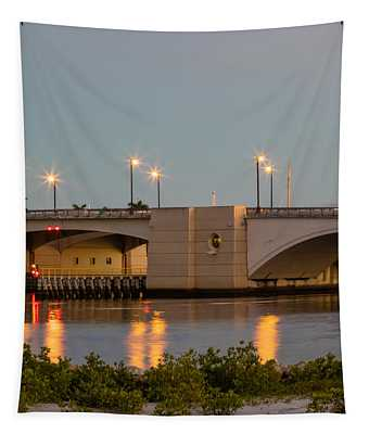 Flagler Bridge In Lights IIi Tapestry