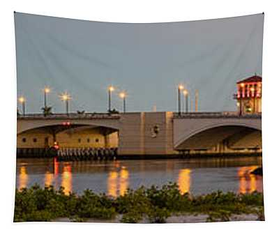Flagler Bridge In Lights Panorama Tapestry