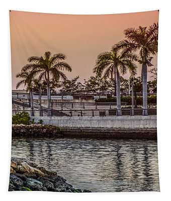 Flagler Bridge In The Evening V Tapestry
