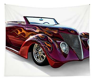 Flamin' Red Roadster Tapestry