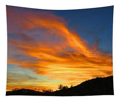 Flaming Hand Sunset Tapestry