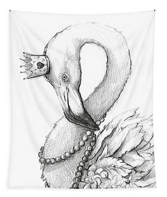 Flamingo In Pearl Necklace Tapestry