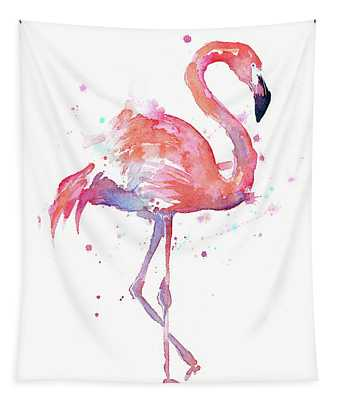 Flamingo Watercolor Facing Right Tapestry