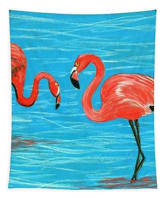 Tapestry featuring the painting Flamingos by Anastasiya Malakhova