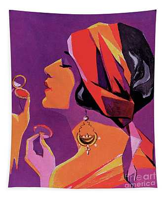 Flapper In A Scarf Applying Makeup, 1923 Tapestry