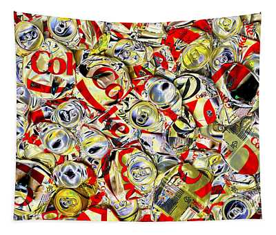 Flattened Coke Cans Tapestry
