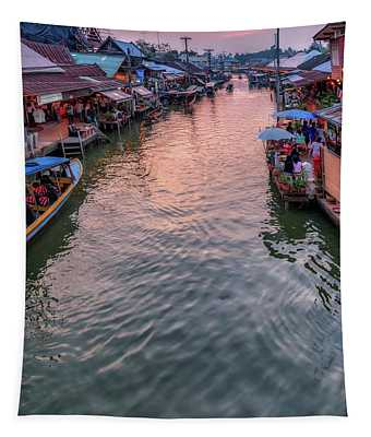 Floating Market Sunset Tapestry