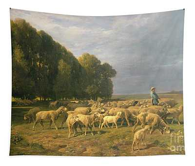 Flock Of Sheep In A Landscape Tapestry