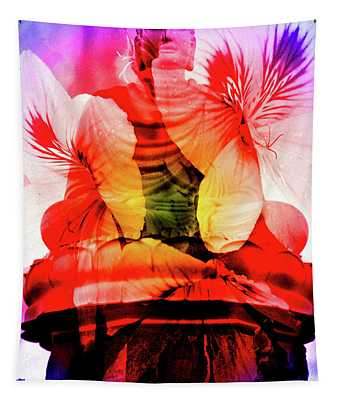 Coral Floral Buddha Sound Tapestry
