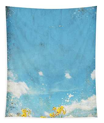 Floral In Blue Sky And Cloud Tapestry