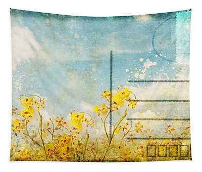 Floral In Blue Sky Postcard Tapestry