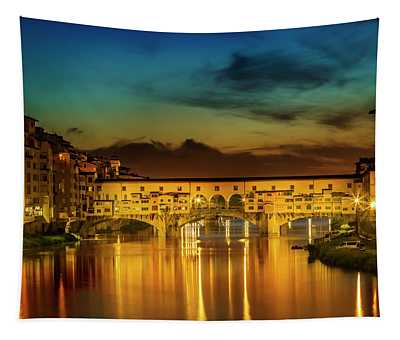Florence Ponte Vecchio At Sunset Tapestry