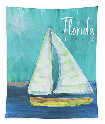 Florida Sailing 2- Art By Linda Woods Tapestry