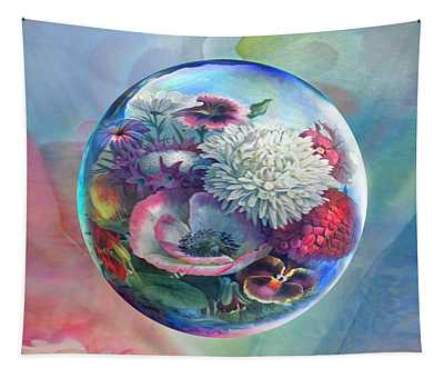 Flower Drop Blues Tapestry