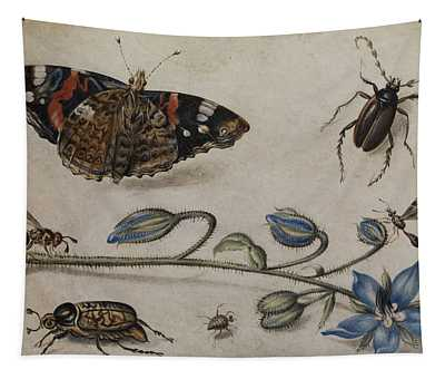 Flower, Insects And Butterfly Tapestry
