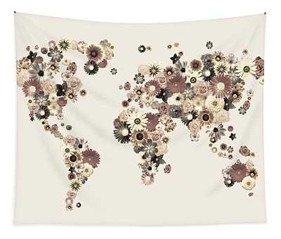 Flower World Map Sepia Tapestry