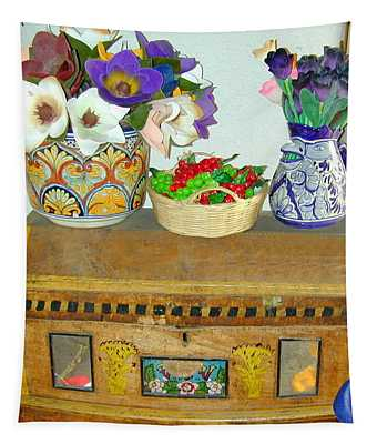 Tapestry featuring the photograph Flowers And Antique Chest by Joseph R Luciano