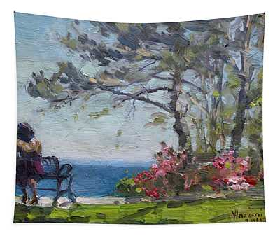 Flowers By Lake Ontario Tapestry