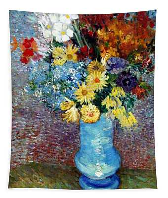 Tapestry featuring the painting Flowers In A Blue Vase  by Van Gogh
