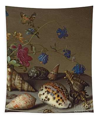 Flowers, Shells And Insects On A Stone Ledge Tapestry