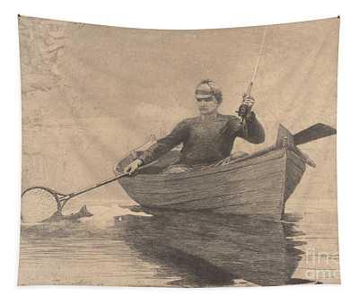 Fly Fishing, Saranac Lake, 1889 Tapestry