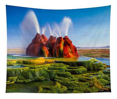 Fly Geyser Panorama Tapestry