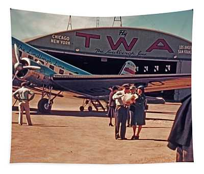 Fly Twa The Lindberg Line By Henry Bosis Tapestry
