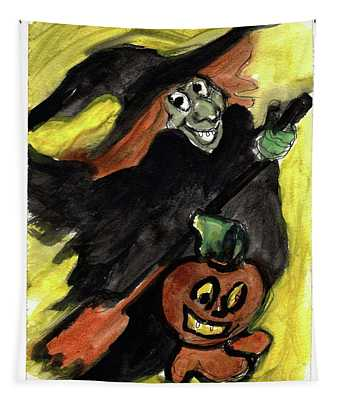 Flying Giddy Halloween Witch Tapestry
