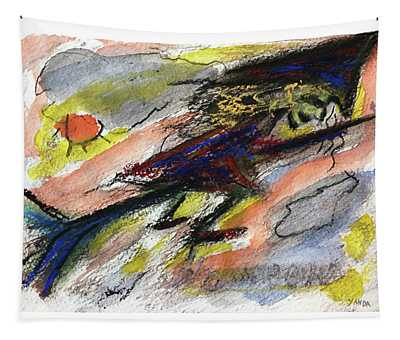 Flying Halloween Witch Tapestry