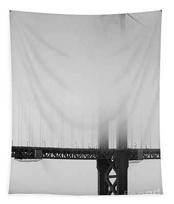 Fog At The Golden Gate Bridge 4 - Black And White Tapestry