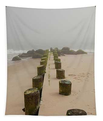 Fog Sits On Bay Head Beach - Jersey Shore Tapestry