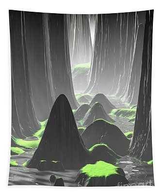 Foggy Canyon Walls Tapestry