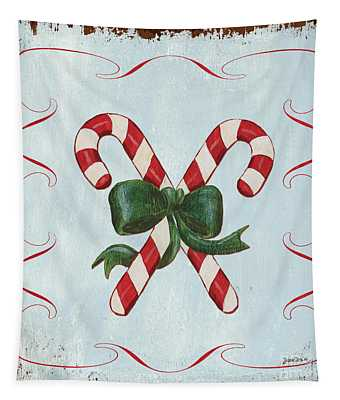 Folk Candy Cane Tapestry