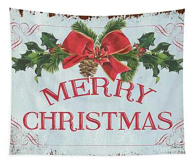 Folk Merry Christmas Tapestry